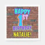 [ Thumbnail: 1st Birthday ~ Fun, Urban Graffiti Inspired Look Napkins ]
