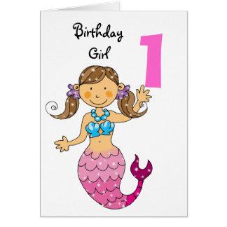 1st birthday gift for a girl, cute mermaid card