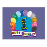 1st Birthday Gifts with Assorted Balloons Design Postcard