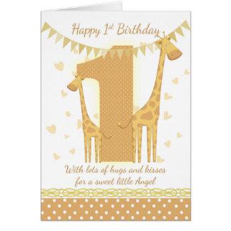 1st Birthday Giraffe Card, Babys 1st Card