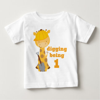 1st Birthday Giraffe Construction Worker T-shirt