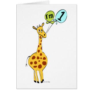 1st Birthday Giraffe with Balloons Card