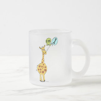 1st Birthday Giraffe with Balloons Frosted Glass Coffee Mug
