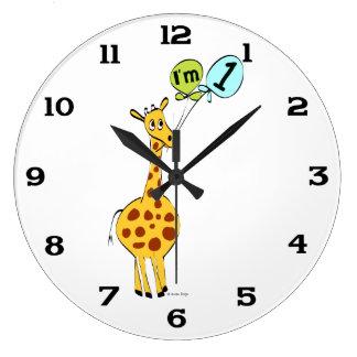 1st Birthday Giraffe with Balloons Large Clock