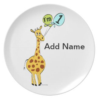 1st Birthday Giraffe with Balloons Melamine Plate
