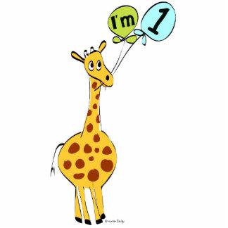 1st Birthday Giraffe with Balloons Statuette