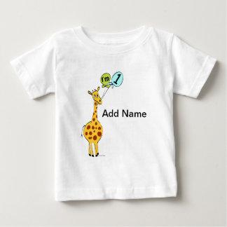 1st Birthday Giraffe with Balloons T Shirts