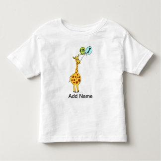 1st Birthday Giraffe with Balloons Tee Shirt