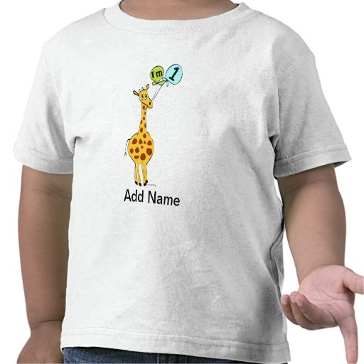 1st Birthday Giraffe with Balloons T-shirts