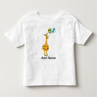1st Birthday Giraffe with Balloons T Shirt