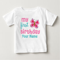 1st Birthday Girl Butterfly Pink Personalized Baby T-Shirt