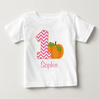 1st Birthday Girl Chevron Pumpkin Personalized Baby T-Shirt