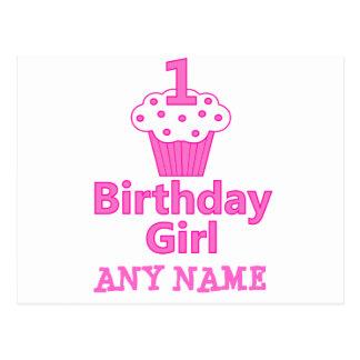 1st Birthday Girl Cupcake Design Postcards