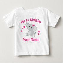 1st Birthday Girl Elephant Personalized T Shirt