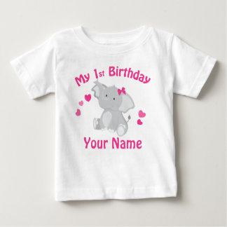 1st Birthday Girl Elephant Personalized T Shirt