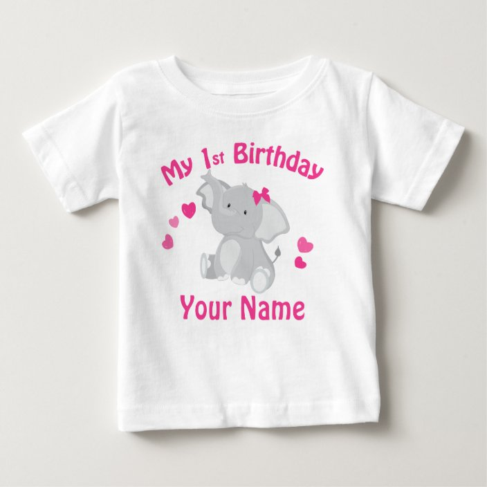 1 Customize name and age Birthday Girl Elephant  - - T Shirt Heat Transfer