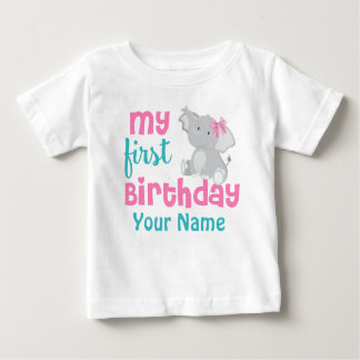 1st Birthday Girl Elephant Pink Personalized Baby T-Shirt