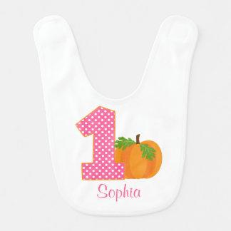 1st Birthday Girl Fall Pumpkin Personalized Bib