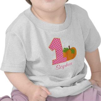 1st Birthday Girl Fall Pumpkin Personalized T-shirts