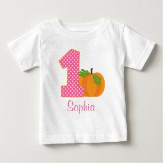 1st Birthday Girl Fall Pumpkin Personalized Tshirts