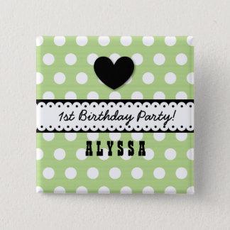 1st Birthday Girl Heart Scalloped Ribbon Green G5 Button