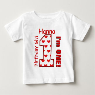1st Birthday Girl Hearts One Year Custom Name V008 Baby T-Shirt