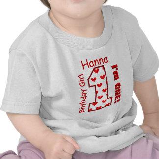 1st Birthday Girl Hearts One Year Custom Name V008 Shirt