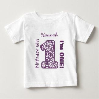 1st Birthday Girl LACE One Year Custom Name V03D Baby T-Shirt