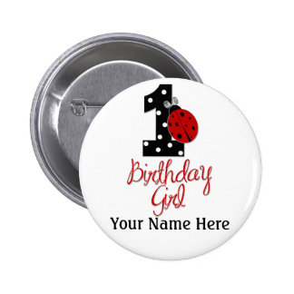 1st Birthday Girl - Lady Bug - 1 - Ladybug 2 Inch Round Button