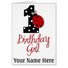 1st Birthday Girl - Lady Bug - 1 - Ladybug Card