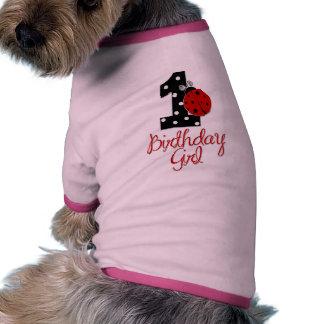 1st Birthday Girl - Lady Bug - 1 - Ladybug Dog T-shirt