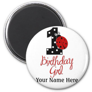 1st Birthday Girl - Lady Bug - 1 - Ladybug 2 Inch Round Magnet