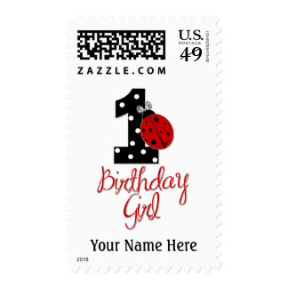 1st Birthday Girl - Lady Bug - 1 - Ladybug Postage Stamp