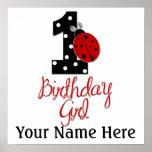 1st Birthday Girl - Lady Bug - 1 - Ladybug Poster