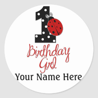 1st Birthday Girl - Lady Bug - 1 - Ladybug Classic Round Sticker