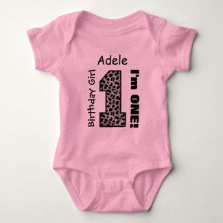 1st Birthday Girl LEOPARD 1 Year Custom Name V006A Baby Bodysuit