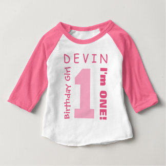 1st Birthday GIrl One Year White Pink Number V01T Baby T-Shirt