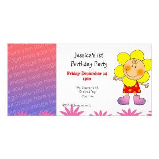 1st birthday girl party invitations (flower girl) photo card