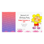 1st birthday girl party invitations (flower girl) photo card
