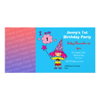 1st birthday girl party invitations (wizard)