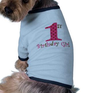 1st Birthday Girl Pink and Brown Polka Dot Dog Tee Shirt