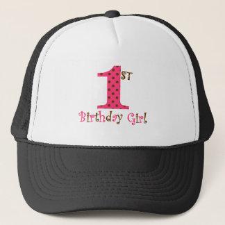 1st Birthday Girl Pink and Brown Polka Dot Trucker Hat