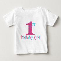 1st Birthday Girl Pink and Teal Polka Dot Baby T-Shirt