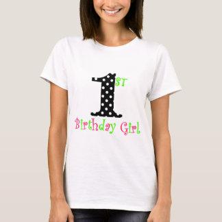 1st Birthday Girl Pink Black and Green Polka Dot T-Shirt