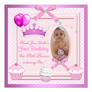 1st Birthday Girl Pink Cupcakes White Pearl Baby 5.25x5.25 Square Paper Invitation Card