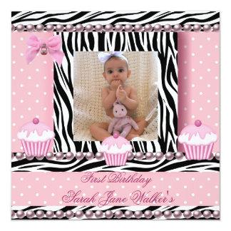1st Birthday Girl Pink Cupcakes Zebra Baby Card