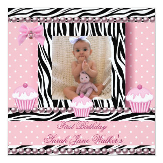 1st Birthday Girl Pink Cupcakes Zebra Baby Invitation