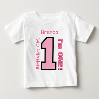 1st Birthday Girl PINK One Year Custom Name V07H Baby T-Shirt