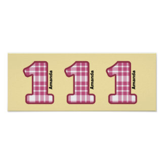 1st Birthday Girl Pink Plaid Number and Name A01 Poster