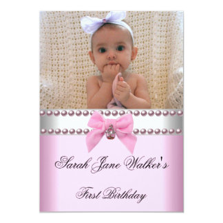 1st Birthday Girl Pink White Pearl Photo First Personalized Invitation